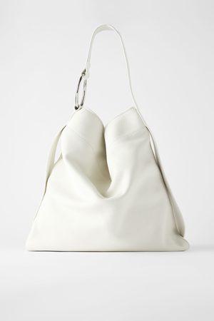 Zara Skórzana płaska torba typu shopper