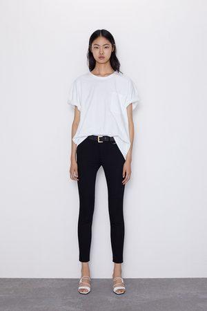 Zara Spodnie jeansowe rurki ze średnim stanem i przeszyciami z kolekcji z1975