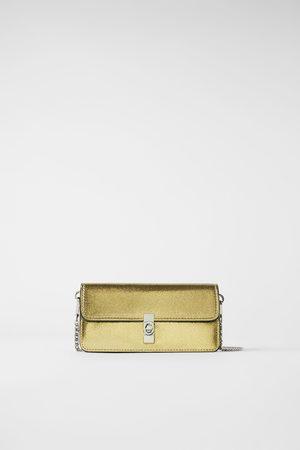 Zara Metalizowana torebka portfelowa typu listonoszka