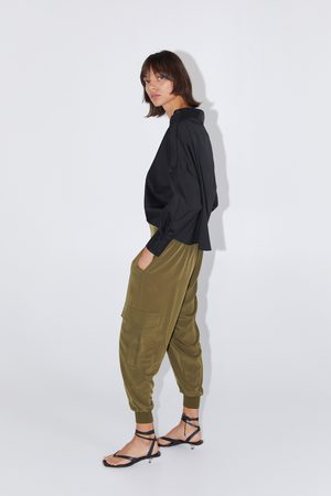 Zara Kobieta Bojówki - Luźne spodnie typu cargo