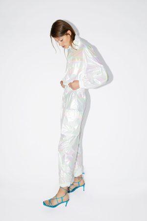 Zara Kobieta Spodnie - Spodnie z opalizującym wykończeniem
