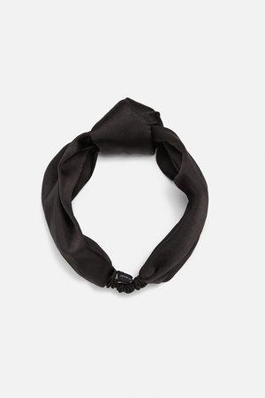 Zara Szeroka opaska na włosy z tkaniny satynowanej