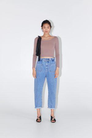 Zara Spodnie jeansowe o kroju baggy z kolekcji z1975