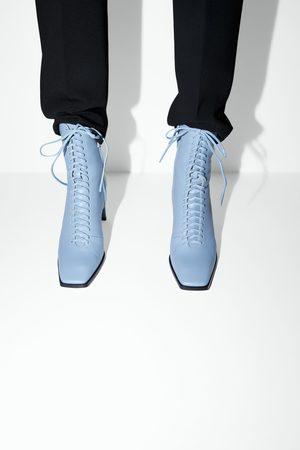 Zara Skórzane sznurowane botki na obcasie