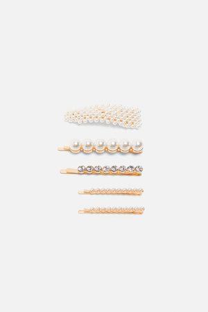 Zara Komplet spinek z perłami i biżuteryjnymi zdobieniami