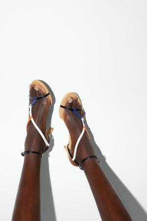 Zara Sandały na średnim obcasie z wielobarwnymi paskami