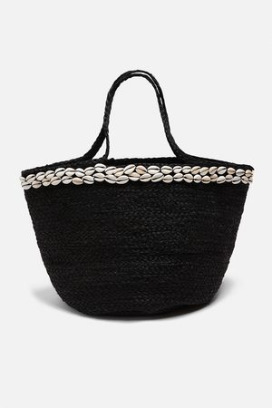 Zara Torba typu koszyk z plecionki jutowej z muszlami