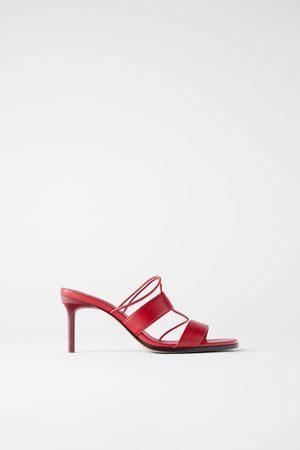 Zara Skórzane sandały na obcasie z paskami