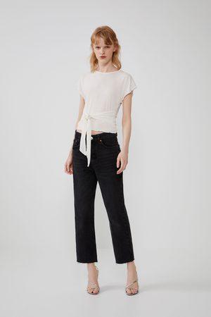 Zara Koszulka z tkaniny strukturalnej z węzłem