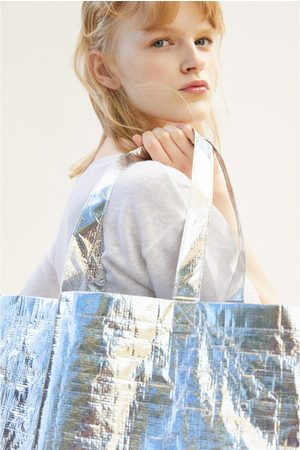 Zara Duża torba typu shopper z metalizowanym wykończeniem