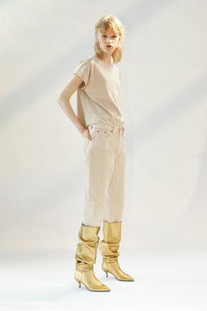 Zara Kozaki na obcasie typu kaczuszka z metalizowanym wykończeniem
