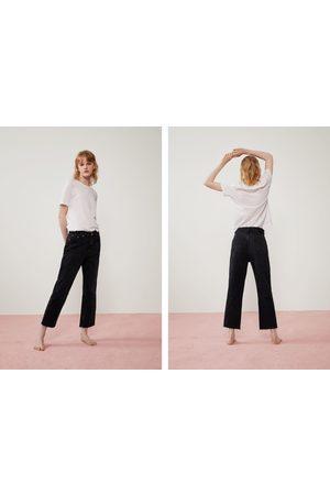 Zara Spodnie jeansowe o prostym kroju z wysokim stanem