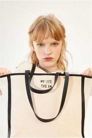 Zara Płócienna torba typu shopper