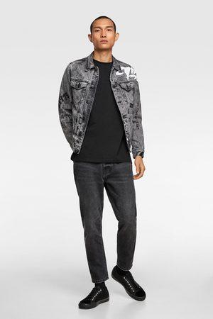 Zara Kurtka jeansowa z nadrukiem w stylu graffiti