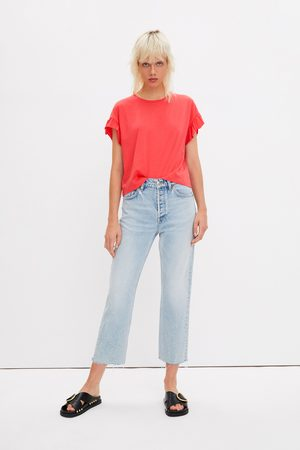 Zara Kobieta Z krótkim rękawem - Koszulka z falbankami