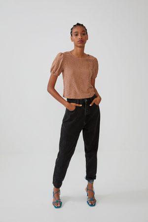 Zara Koszulka z ozdobną tkaniną koronkową