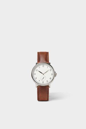 Zara Zegarek w stylu vintage z brązowym skórzanym paskiem