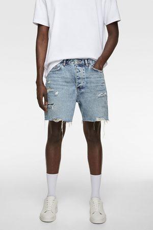 Zara Bermudy jeansowe z rozdarciami