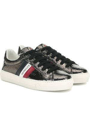 Moncler Ariel cracked patent leather sneakers
