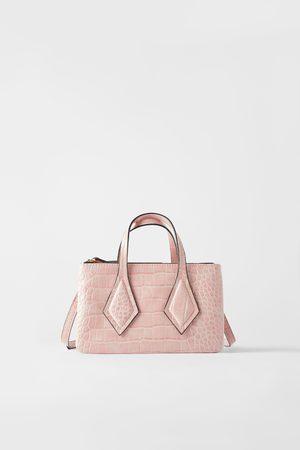 Zara Mini torebka typu shopper z metalowym zamknięciem i tłoczeniem w zwierzęcy deseń