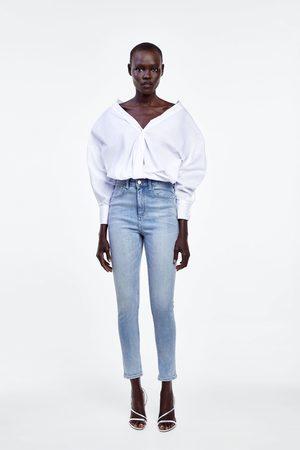 Zara Spodnie jeansowe rurki z wysokim stanem z kolekcji z1975