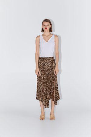 Zara Plisowana spódnica z nadrukiem w zwierzęcy deseń