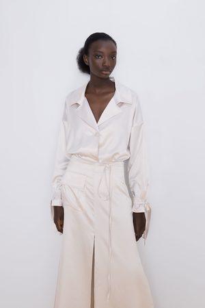 Zara Spódnica z tkaniny satynowanej z kieszenią