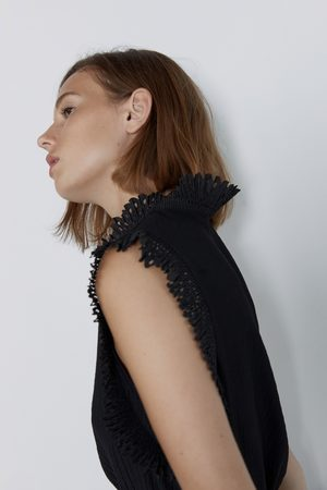 Zara Koszulka z ozdobnym plisowaniem
