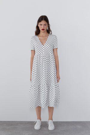 Zara Luźna sukienka z nadrukiem