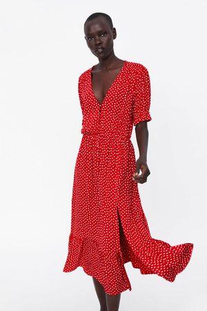 Zara Sukienka w kropki z falbanką
