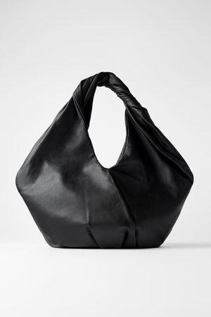 Zara Skórzana owalna torba typu shopper