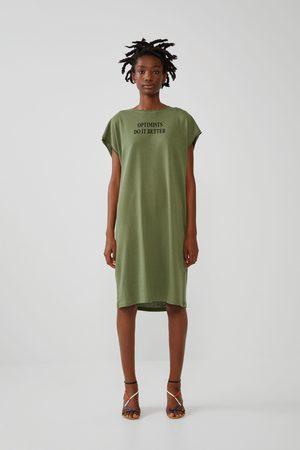 Zara Sukienka z nadrukiem tekstowym z przodu