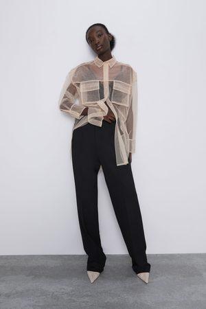 Zara Tiulowa koszula z kieszeniami