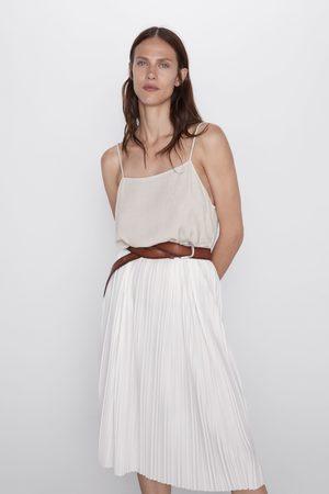 Zara Sukienka z łączonych tkanin na ramiączkach