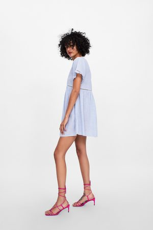 Zara Sukienka w paski z szydełkowymi guzikami