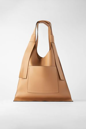 Zara Płaska torba typu shopper z kieszenią zewnętrzną