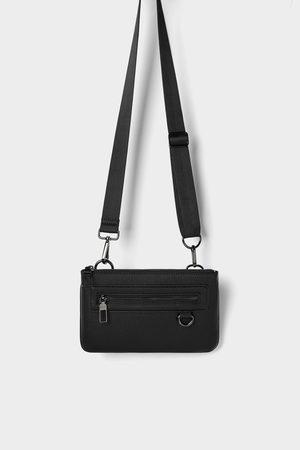 Zara Czarna mini torebka typu nerka z możliwością łączenia