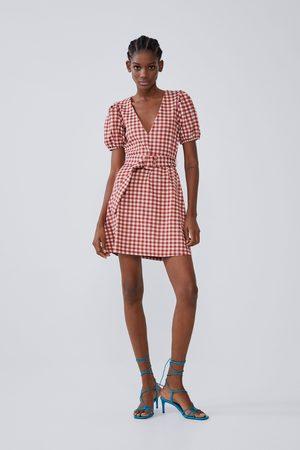 Zara Szeroka sukienka z teksturowanej tkaniny