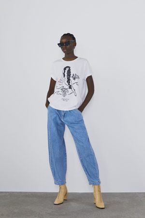 Zara Wzorzysta koszulka z napisem