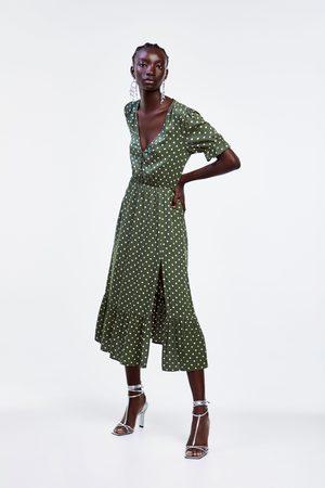 Zara Sukienka w kropki z rozcięciem
