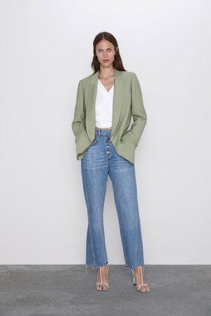 Zara Spodnie jeansowe z wysokim stanem i guzikami z kolekcji z1975