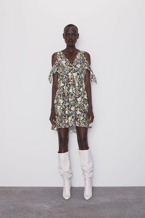 Zara Sukienka z nadrukiem w kwiaty i wiązaniem