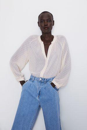 Zara Półprzezroczysta bluzka z tkaniny plumeti