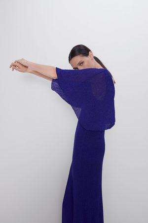Zara Dwuwarstwowa sukienka z metalizowaną nicią