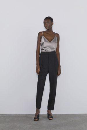 Zara Top w stylu bieliźnianym z tkaniny satynowanej