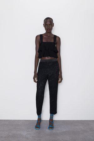 Zara Spodnie smokingowe z koronki