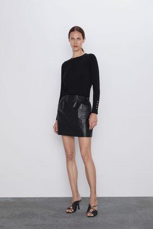 Zara Spódnica mini ze sztucznej skóry z kieszeniami