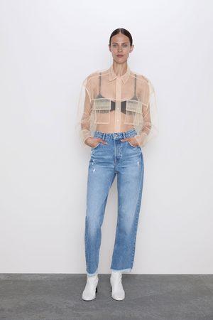 Zara Spodnie jeansowe o prostym kroju z wysokim stanem i rozdarciami z kolekcji z1975