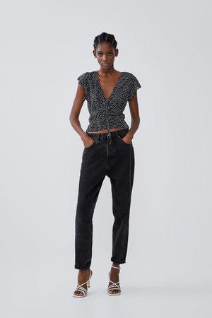 Zara Plisowana koszulka z falbankami