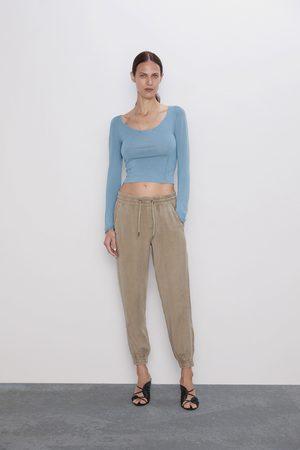 Zara Spodnie joggery limestone green